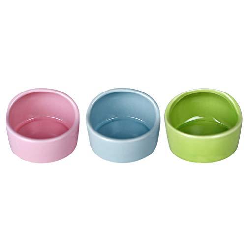 POPETPOP 3pcs Ceramic Hamster Feeding Bowls, Anti-bite Small Animal Food Bowl Water Feeder for...