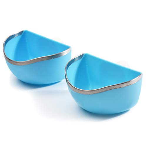 CalPalmy Food and Water Bowl (2-Pack) for Rabbit/Guinea Pig/Chinchilla - Best Bowl to Prevent...