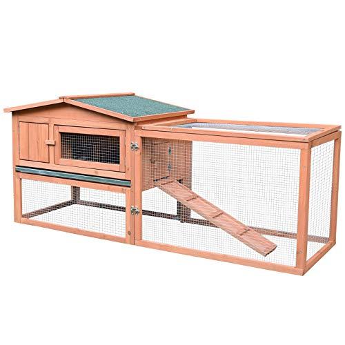 PawHut 62' Outdoor Guinea Pig Pet House/Rabbit Hutch Habitat with Run