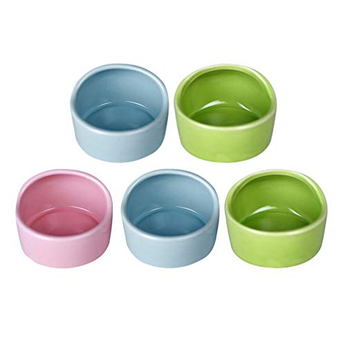 Balacoo 5pcs Pet Hamster Feeding Bowls Ceramic Small Animal Dishes Food and Water Bowl for Mouse...