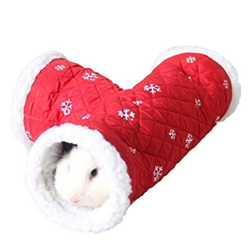 ANIAC Pet Single/T-Shape Play Tunnels Toys Warm Sleeping Bed Tube Hideout for Hamster Gerbils...