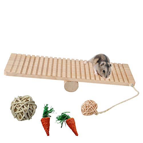 kathson Hamster Seesaw Toys, Small Animal Play Wooden Platform with Ball for Guinea Pigs, Gerbil,...