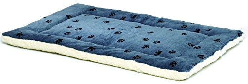 Reversible Paw Print Pet Bed in Blue / White, Dog Bed Measures 35L x 21.5W x 3.5H for Intermediate...
