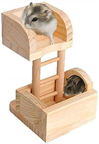 Hamsters Wooden House Hideout Lookout Tower Climbing Ladder Toys for Chinchilla Gerbil Rat Mouse...