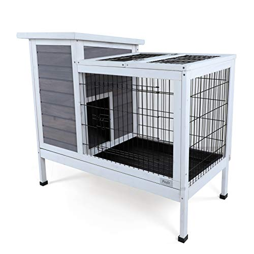 Petsfit Wood Rabbit Cage with Deeper Not Leakage Removable Tray, Indoor Bunny Cage with Spacious...