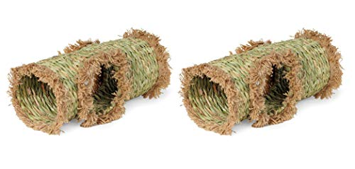 Prevue Pet Products 2 Pack of Nature's Hideaway Grass Tunnels, Medium, for Guinea Pigs Dwarf Rabbits...