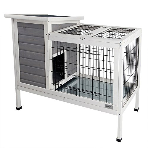 Petsfit Rabbit Hutch Grey, Guinea Pigs Cage, Bunny Hutch Wood for Indoor Use
