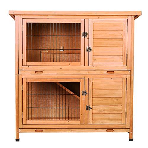 CO-Z 2 Story Wooden Rabbit Hutch, Guinea Pig Cage, Bunny House, Duck Coop, Wooden Indoor/Outdoor...