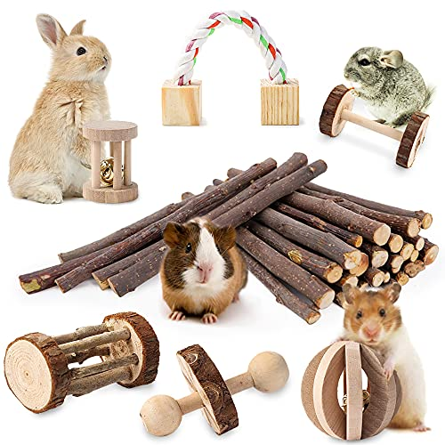 JanYoo Rabbit Chew Toys,Natural Wooden Hamster Toys Guinea Pig Teeth Care Molar Exercise Toys...