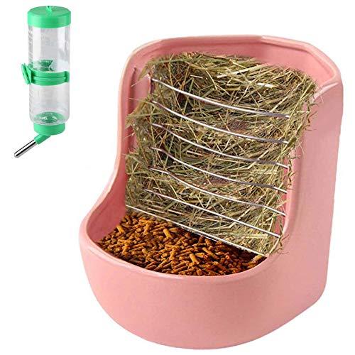 Bunny Food Dispenser, Ceramic Hay Feeder Manger Rack with Water Bottle for Rabbit Guinea Pig...
