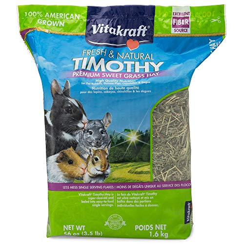 Vitakraft Timothy Hay, Premium Sweet Grass Hay, 100% American Grown, 56 Ounce Resealable Bag