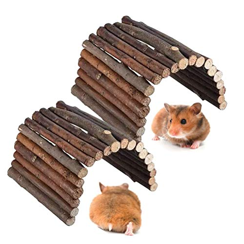 kathson Natural Hamster Wooden Platform Small Animal Chew Toy Gerbils Cage Habitat for Parakeets,...