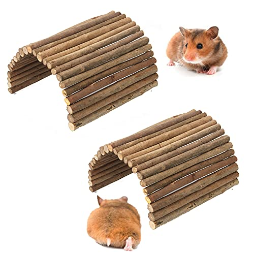 kathson Bunny Wooden Bridge Toy Small Animals Cage Wood Ladder Natural Hideout for Chinchillas,...