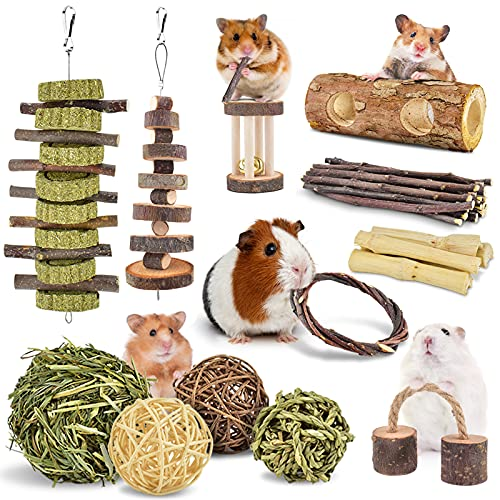 ERKOON New 12 Pack Hamster Chew Toys Gerbil Rat Guinea Pig Chinchilla Chew Toys Accessories, Natural...