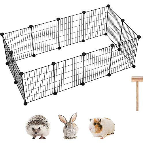 C&AHOME Pet Playpen, 12 PCS Exercise Small Animals Playpens Cage, Portable Yard Fence Indoor Ideal...