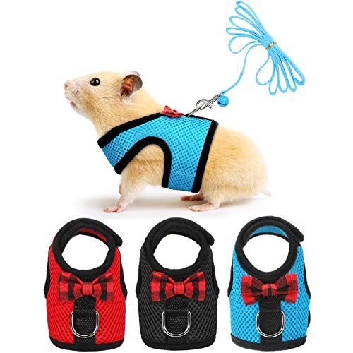 3 Pieces Guinea Pig Harness and Leash Soft Mesh Small Pet Harness with Bowknot Bell, No Pulling...