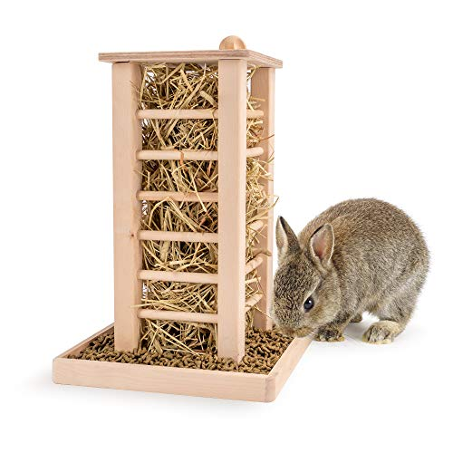 andwe Hay Feeder Less Wasted Wooden Food Feeding Rack for Rabbit Guinea Pig Chinchilla - Standing...