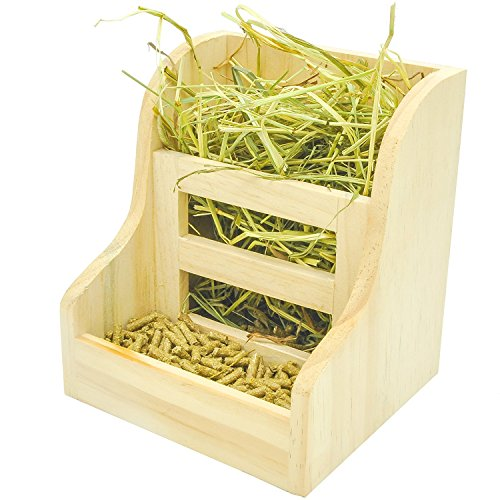 Niteangel Grass and Food Double Use Feeder, Wooden Hay Manger for Rabbits, Guinea Pigs (7'' x 6.3''...