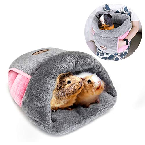 YUEPET Guinea Pig Bed Cuddle Cave Warm Fleece Cozy House Bedding Sleeping Cushion Cage Nest for...