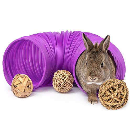 Niteangel Fun Tunnel with 3 Pack Play Balls for Guinea Pigs, Chinchillas, Rats and Dwarf Rabbits...