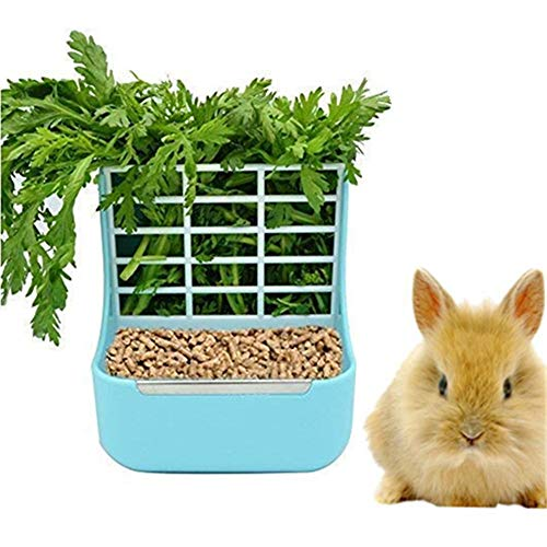 zswell Hay Food Bin Feeder, Hay and Food Feeder Bowls Manger Rack for Rabbit Guinea Pig Chinchilla...