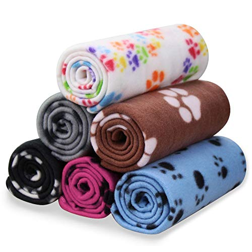 Comsmart Pet Blanket Dog Cat Soft Fleece Blankets Sleep Mat Pad Bed Cover with Paw Print for Kitten...