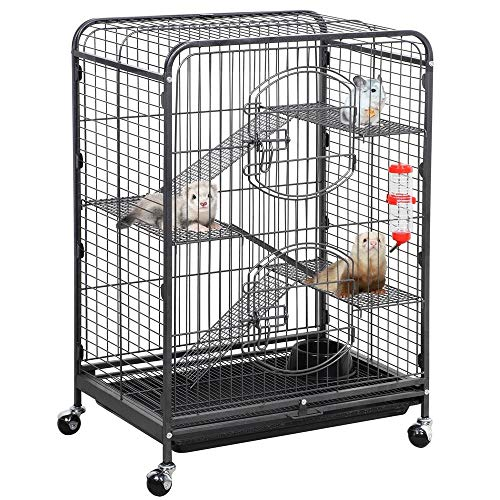 YAHEETECH 37-inch Metal Ferret Chinchilla Cage Indoor Outdoor Small Animals Hutch w/ 2 Front...