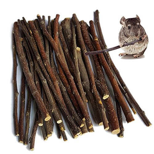sharllen 300g(10.5oz) Apple Sticks (About 90 Sticks) Pet Chew Toys for Rabbits Chinchilla Guinea...